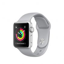 Умные часы Apple Watch Series 3 GPS, 38mm, серебристые алюминиевые, спортивный браслет дымчатого цвета