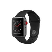 Умные часы Apple Watch Series 3 GPS Cellular, 38mm, корпус из алюминия цвета «серый космос», спортивный ремешок чёрного цвета