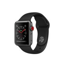 Умные часы Apple Watch Series 3 GPS+Cellular, 38mm, корпус из алюминия цвета «серый космос», спортивный ремешок чёрного цвета