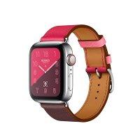 Apple Watch Series 4 GPS   Cellular, 40mm, корпус из стали, ремешок Hermès Single Tour из кожи Swift цвета Bordeaux/Rose Extrême/Rose