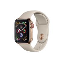 Apple Watch Series 4 GPS + Cellular, 40mm, корпус из стали золотого цвета, спортивный ремешок бежевого цвета