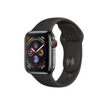 Apple Watch Series 4 GPS + Cellular, 40mm, корпус из стали цвета «черный космос», спортивный ремешок черного цвета