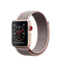 """Умные часы Apple Watch Series 3 GPS+Cellular, 42mm, золотистые алюминиевые, нейлоновый ремешок цвета """"Розовый песок"""""""