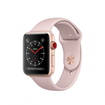 Умные часы Apple Watch Series 3 GPS+Cellular, 42mm, корпус из золотистого алюминия, спортивный ремешок цвета «розовый песок»