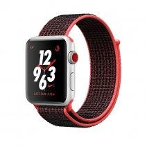 Умные часы Apple Watch Series 3 Nike+ GPS + Cellular, 38mm, корпус из серебристого алюминия, ремешок Sport loop красно-черного цвета
