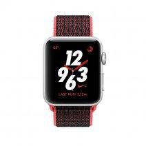 Apple Watch Series 3 Nike+ GPS + Cellular, 38mm, корпус из серебристого алюминия, ремешок Sport loop красно-черного цвета
