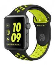 """Умные часы Apple Watch series 2 Nike+, 42mm , алюминиевый корпус цвета """"серый космос"""", спортивный браслет цвета «черный/салатовый»"""