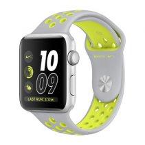 Умные часы Apple Watch series 2 Nike+, 42mm , алюминиевый корпус серебристого цвета , спортивный браслет Nike цвета «листовое серебро/салатовый»