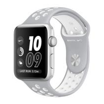 Умные часы Apple Watch series 2 Nike+, 42mm, алюминиевый корпус серебристого цвета , спортивный браслет Nike цвета «листовое серебро/белый»