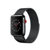 Умные часы Apple Watch Series 3 GPS+Cellular, 42mm, корпус из стали цвета «серый космос», миланский сетчатый браслет цвета «чёрный космос»
