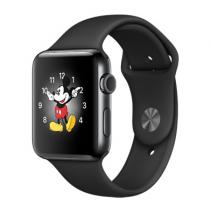 Умные часы Apple Watch series 2, 42mm, корпус из нержавеющей стали цвета «чёрный космос», спортивный ремешок чёрного цвета