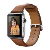 Умные часы Apple Watch series 2, 42mm, корпус из нержавеющей стали, ремешок золотисто-коричневого цвета с классической пряжкой