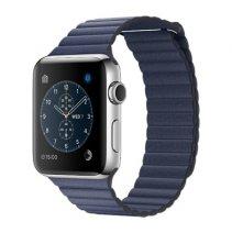 Умные часы Apple Watch series 2, 42mm, корпус из нержавеющей стали, кожаный ремешок тёмно‑синего цвета