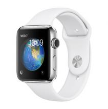 Умные часы Apple Watch series 2, 42mm, корпус из нержавеющей стали, спортивный ремешок белого цвета