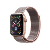 Apple Watch Series 4 GPS, 44mm, корпус из алюминия золотого цвета, спортивный браслет (Sport Loop) цвета «розовый песок»