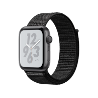 Apple Watch Series 4 Nike  GPS, 44mm, корпус из алюминия цвета «серый космос», спортивный браслет (Sport Loop) Nike черного цвета