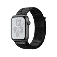 Apple Watch Series 4 Nike+ GPS, 44mm, корпус из алюминия цвета «серый космос», спортивный браслет (Sport Loop) Nike черного цвета