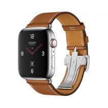 Apple Watch Series 4 GPS + Cellular, 44mm, корпус из стали, ремешок Hermès Single Tour из кожи Barénia цвета Fauve с раскладывающейся застёжкой
