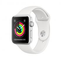 Умные часы Apple Watch Series 3 GPS, 38mm, корпус из серебристого алюминия, спортивный ремешок белого цвета