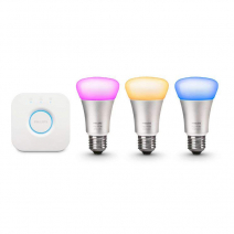 Комплект из 3 умных цветных лампочек и роутера Philips Hue White and Color Ambiance A19 60W Equivalent LED Smart Bulb Starter Kit 3-Gen A19