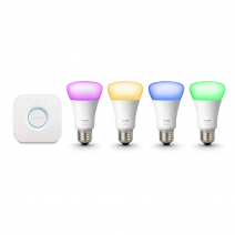 Комплект из 4 умных цветных лампочек и роутера Philips Hue White and Color Ambiance A19 60W Equivalent LED Smart Bulb Starter Kit 3-Gen A19