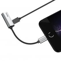 Переходник c возможностью параллельной зарядки Baseus Audio Converter Lightning – 3.5mm + Lightnig L32