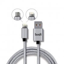 Кабель с оплеткой Budi Lightning + Micro USB Charge/Sync Cable 1m