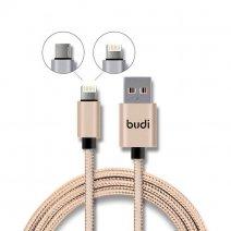 Кабель с оплеткой Budi Lightning + Micro USB Charge/Sync Cable 1m