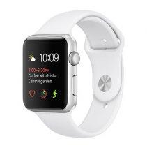 Умные часы Apple Watch series 2, 42mm, серебристые алюминиевые, спортивный браслет белого цвета