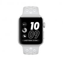 Умные часы Apple Watch series 2 Nike+, 42mm, алюминиевый корпус серебристого цвета , спортивный браслет Nike цвета «чистая платина/белый»