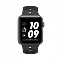 Умные часы Apple Watch series 2 Nike+, 38mm,  алюминиевый корпус цвета «серый космос», спортивный ремешок Nike цвета «антрацитовый/чёрный»