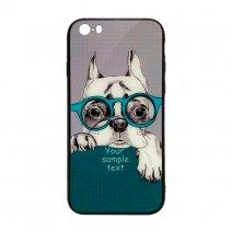 Чехол из TPU и стекла DOG & GLASSES для iPhone 5/5S