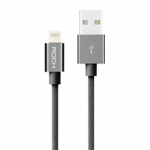 Кабель Rock Space 200mm Metal Charge & Sync Round Cable USB – Lightning